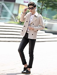 Men's Solid Formal Trench coat,Cotton Long Sleeve-Black / White