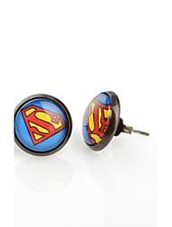 moda superman ronda de bronce antiguos pendientes