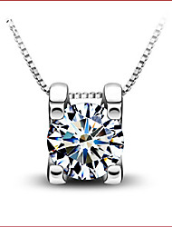 Dinghua Women's All Match Square Diamante Pendant