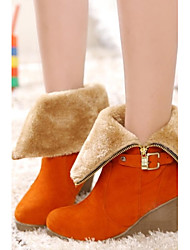 Women's Shoes Round Toe Wedge Heel Mid-Calf Boots with Zipper More Colors Available