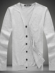 Men's Pure Cardigan , Cotton/Wool Long Sleeve