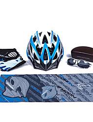 MOON Black+Lake Blue Cycling Gift Box Set Including 21 Vents Helmet Carbon Fiber Glasses Short Finger Gloves and Scarf