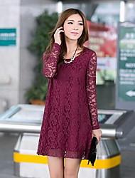 Michaela Women's Round Neck Lace Long Sleeve Dress