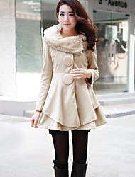Women's Autumn And Winter The Fur Collar Wool Coat Skirt in A Long Coat