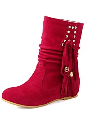 Women's Shoes Slouch Round Toe Wedge Heel Mid-Calf Boots with Tassel More Colors available