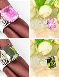 Newet Peridot Pink Kunzite Gemstone Silver Ring 1PC
