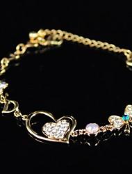 Women's Heart Rhinestone Bracelet
