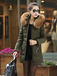 Women' Fashional Insulation long Down Jacket with Big Fur collar