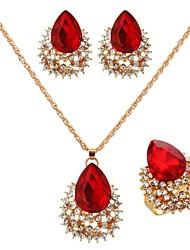 Women's Gold/Cubic Zirconia/Vermeil Jewelry Set Ruby