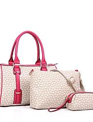 pu moda 3 sets casual / de compras sacos de ombro das mulheres