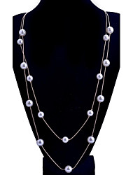 Lureme®Simple Style Two Layers Of The Pearl Alloy Necklace
