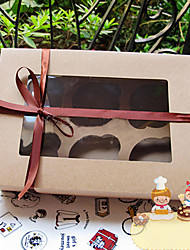 PURE Kraft Paper Cake Favor Boxes With 6 Checks(Ribbon Excluded)