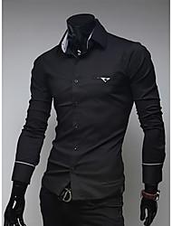 comércio exterior por atacado de moda magro bolso coberto manguito borda camisa de manga longa para homens george