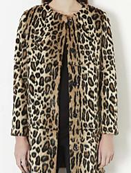 zuoge женщин роскошный леопардовый свободная посадка шуба