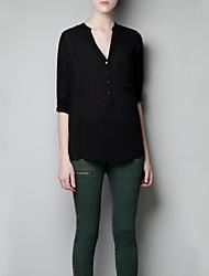 Women's Solid Blue/White/Black Blouse , Deep V Long Sleeve