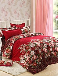H&C ®  Thicken Cotton Sanded Fabric Duvet Cover Set  4 Pieces Flower Pattern  Red Multi-Color