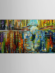 Hand Painted Oil Painting Landscape Rainning Night with Stretched Frame