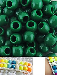 Approx 100PCS 8x9MM Dark Green Pearlescent Pony Beads Rainbow Color Loom Bracelet DIY Accessories