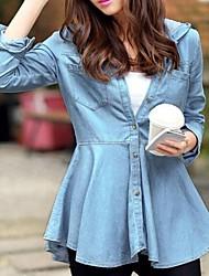 coreano moda cor sólida manga longa com capuz denim outerwear das mulheres