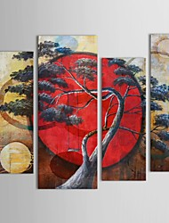 IARTS®Hand Painted Oil Painting Landscape   The Pine Greeting Guests Fabric Designs with Stretched Frame Set of 4