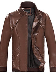 Men PU/Faux Leather Outerwear , Lined