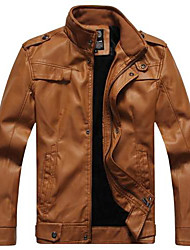 Men Winter Thick Leather Jacket Coat Slim Collar Men