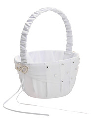 Pure White Sasin Wedding Flower Basket Flower Girl Basket