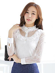 TS Stand Mesh/Lace/Ruffle Blouse , Lace Long Sleeve