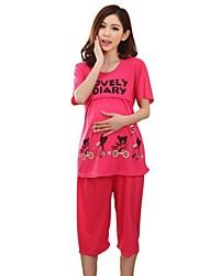 Maternity's Fashion Comfortable Breastfeeding Short Sleeves Pajamas Clothing Set