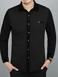 Men's Fish Scales Joint Printing Cotton Long Sleeved Shirt