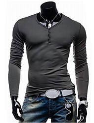 Men's Casual Fashion  V Collar Long Sleeve  T-Shirt