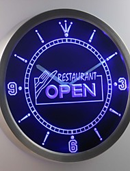 nc0278 Restaurant OPEN Cafe Food Display Neon Sign LED Wall Clock