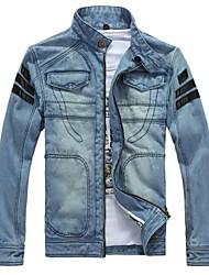 Men's Winter Fashion Veneer Fight Skin Denim Hooded Jacket Coat Outerwear