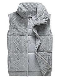 Men's Regular Parka Coat , Cotton/Cotton Blend Pure Sleeveless