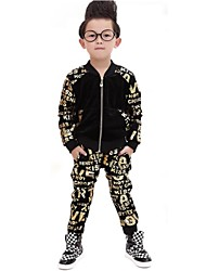 Boy's Fashion Golden Letter Print Stitching Clothing Sets(Jacket&Harem Pants)
