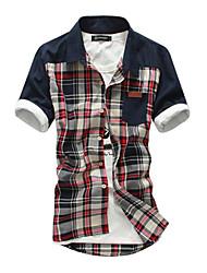 Men's Short Sleeve Shirt , Cotton Blend Casual/Work Plaids & Checks