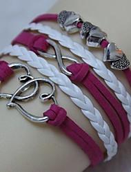 charme cuir braceletsvintage argent antique coeur double 8 18cm bracelet unisexe enveloppe en cuir (1 pc) bracelets d'inspiration
