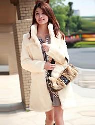 moda casual pura piel de imitación de color larga capa caliente de las mujeres