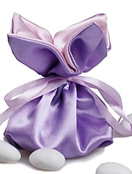 10 PCS Wedding Candy Favor Bags Purple Silk Satin Drawstring Pouch for Party