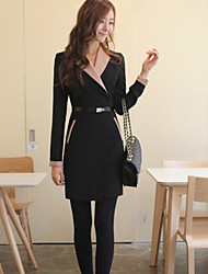 JFS European Korean Fashion All-Matched Long Sleeve Dress