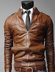 Men's Pu Leather Stand Collar Coat