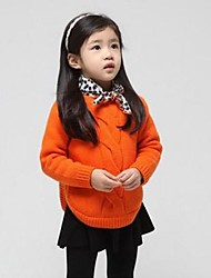 Girl's Solid Sweater & Cardigan,Knitwear Winter / Spring / Fall Orange / White