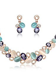 Elegant Colorful Necklace Earrings Set (1 Set)