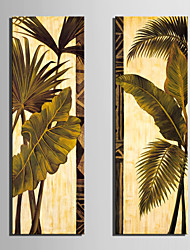 Leinwand Kunst Botanical Green Leaves Set 2