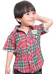 Boy's Shirt Collar Check  Pattern Short Sleeve Shirts