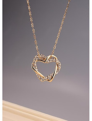 Fashion OL Two Heart 18K Gold Plated Necklace for Women in Jewelry Gift