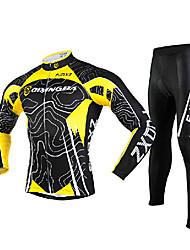 fjqxz ciclismo jersey + meias mangas compridas dos homens 3d curva corte fino respirável terno ciclismo - amarelo + preto