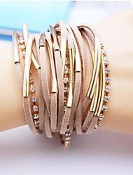 couro charme braceletsalloy handmade multicamadas de jóias pulseira de couro
