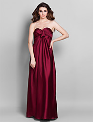 Lanting Bride® Floor-length Stretch Satin Bridesmaid Dress - Sheath / Column Sweetheart Plus Size / Petite withBeading / Flower(s) / Side