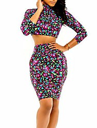 Women's  Print Nightclub Sexy Cute Strip  Suit (Shirt&Skirt)